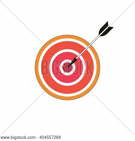Darts Vector Icon On White Background. Darts With An Arrow. Accurate Hitting The Target.