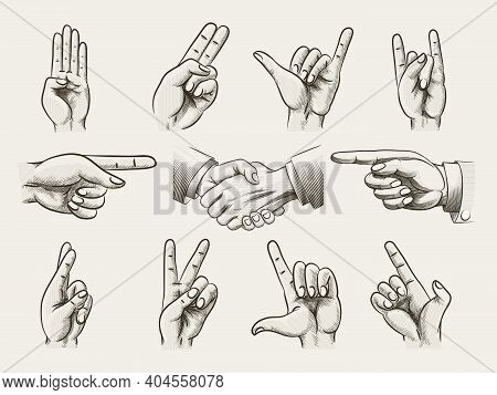 Set Of Vintage Style Hand Gestures Showing Counting  Hard Rock Horns  V-sign For Peace Or Victory  P