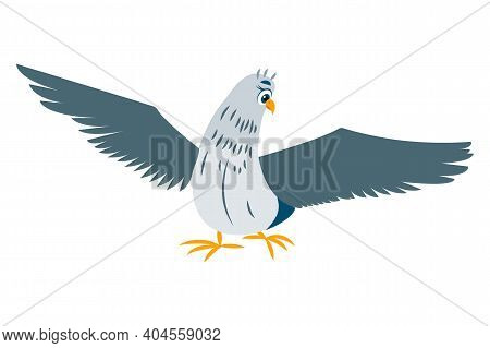 Pigeon Bird Stay. Green Gray Doves. Spreaded Wings. Blue Eyes. Yellow Beak And Legs. Flat Cartoon Ch