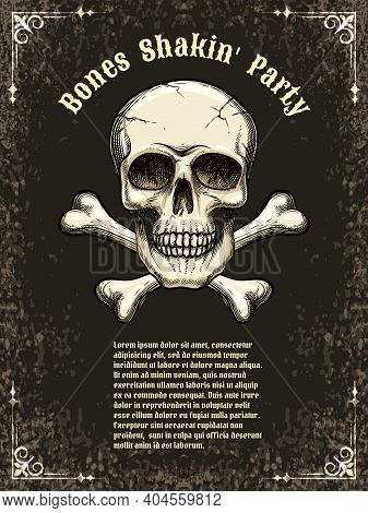 Template Posters For The Party, Halloween. Skull And Crossbones. Vector Illustration