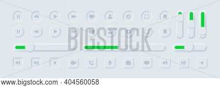 Neumorphism Icons. User Interface Elements For Mobile App. Ui Icons Set. Vector. Neumorphic Ui Ux Wh