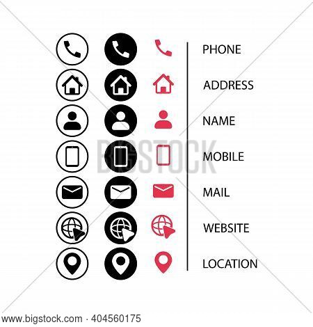Contact Us Icon Set In Flat Style. Communication Symbol For Your Web Site Design, Logo, App, Ui. Con