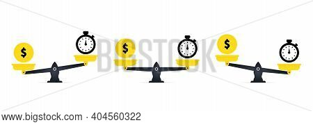 Concept Save Time, Money Saving. Time Is Money On Scales Icon. Money And Time Balance On Scale. Fina