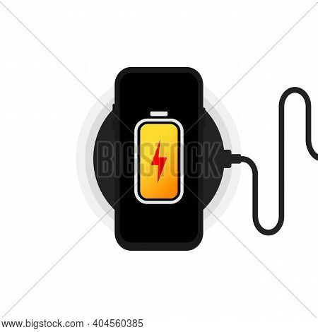 Wireless Charger Illustration. Smartphone On Wireless Charging. Battery Charge Icon. Flat Wireless P