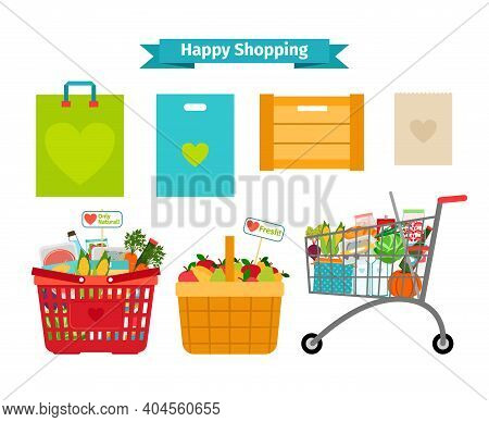 Happy Shopping Concept. Only Fresh And Natural Food. Nature Nutrition, Sale Natural, Vector Illustra