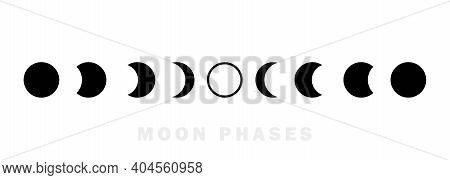 Moon Phases Astronomy Icon Set. The Whole Cycle From New Moon To Full Moon. Night Space Astronomy Co
