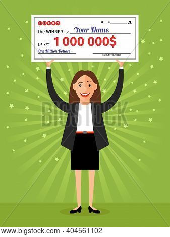 Woman With Check For One Million Dollars In Hands. Money And Business, Finance Success Rich, Lottery