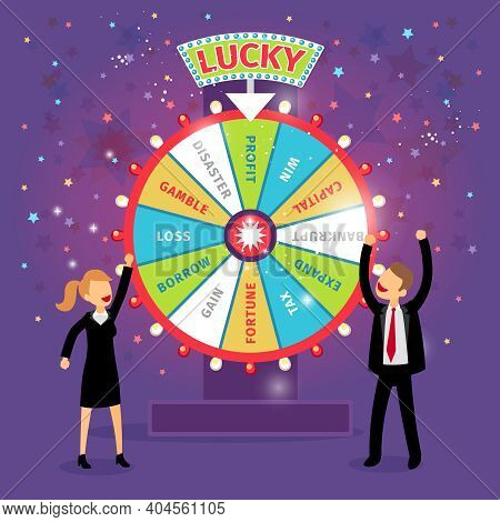 Vector Financial Wheel Of Fortune. Business Concept. Chance And Risk, Gamble And Profit, Tax And Gai