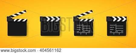 Set Of Movie Clapper Icons. Movie Clapper Board. Film Production. Clapboard Logo. Cinematography. Ve