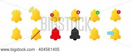 Set Of Notification Bell Icons. Notification Bell Icon For Incoming Inbox Message. For App. Alert Or