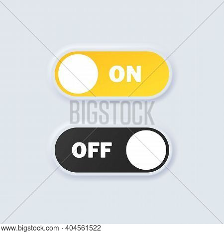 Set Of Switch On And Off Icons. On And Off Toggle Buttons. Devices User Interface Mockup Or Template