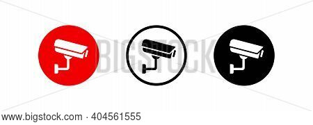 Set Of Security Or Surveillance Camera Icons. Security Camera Icon. Surveillance Camera Symbol. Vect
