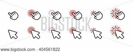 Set Of Computer Mouse Click Cursor Icons. Arrow Icon. Pointer Icon. Cursor Badge. Mouse Click Cursor