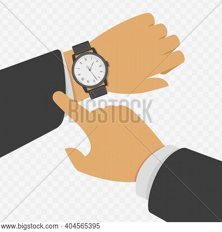 Wristwatch On The Hand Of Businessman In Black Suit. Vector Illustration Of Time On Wrist Watch. Man