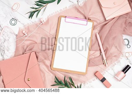 Desktop With Notebook And Woman Accessories In Pink Color. Home Office, Social Media Blog, Schedule,