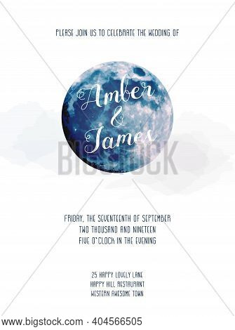 Magic Blue Moon Vector Design Card. Round Shaped Celestial Template. Dusty Blue And Navy Colors. Fai
