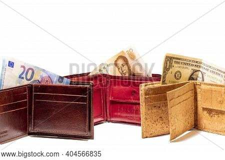 Top View Of New Brown Genuine Leather Made In Italy Wallet With Usd Dollar, Euro And Chinese Renminb