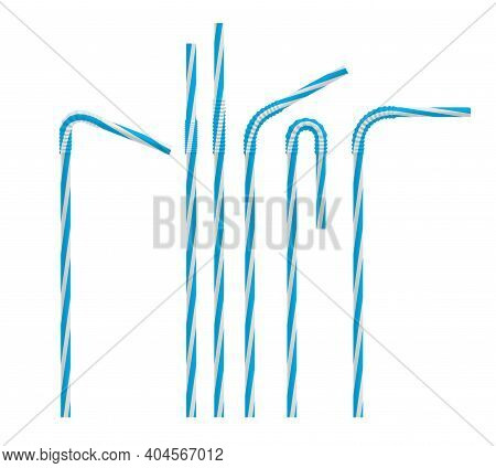 Realistic Drinking Straw Set. Straight And Bent Plastic Cocktail Tube With Blue Stripes. Vector Mock