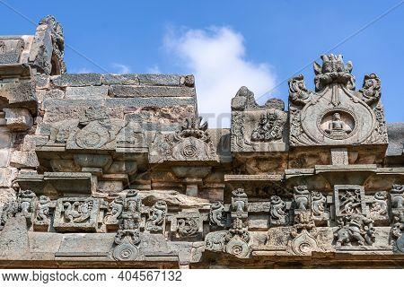 Lakkundi, Karnataka, India - November 6, 2013: Brahma Jinalaya Temple. Closeup Of Line Of Ledge Deco