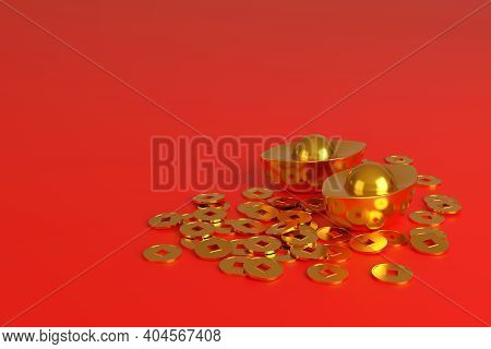 Chinese Gold Ingots And Coins, Symbol Of Prosperity, Isolated On Red Background. 3d Illustration.