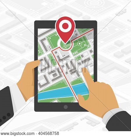 Tablet With Map And Pin Marker On Screen In Man Hands. Mobile Gps Navigation Concept. Conception Of