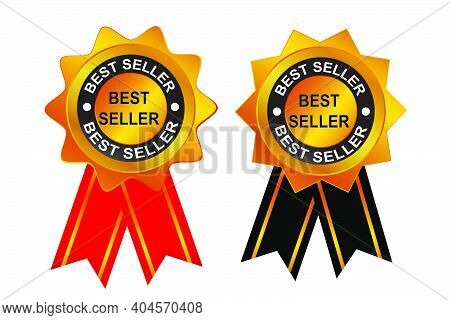 Golden Stamp Or Tag, Best Seller With Black And Red Ribbon