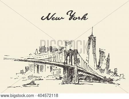 Manhattan Bridge New York Us Vector Drawn.