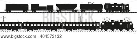 Freight Train With Diesel Locomotive, Passenger Train With Electric Locomotive. Black Silhouette Iso