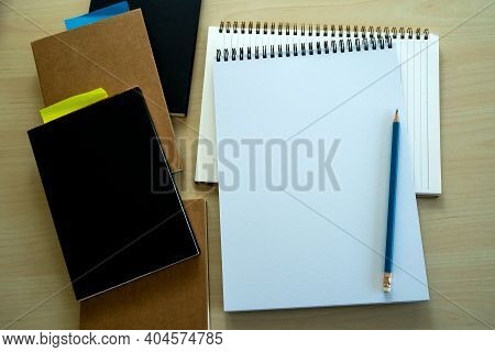 Blank Plain Notebook Top View Blank Design Concept Background For Mockup Book  Page With Stationary