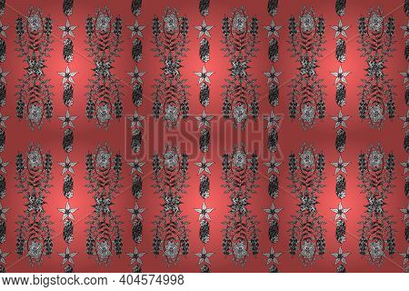 Seamless Pattern. Rater Pano. White Doodles. Colorful Background.