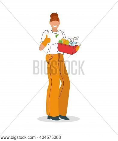 A Cleaning Lady With Cleaning Products And A Thumbs-up Gesture. Advertising Of A Cleaning Company. V