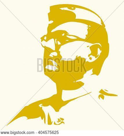 Sketch Of Freedom Fighter Netaji Subhas Chandra Bose Outline Editable Illustration