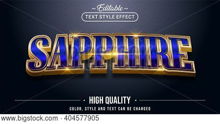Editable Text Style Effect - Sapphire Text Style Theme. Graphic Design Element.