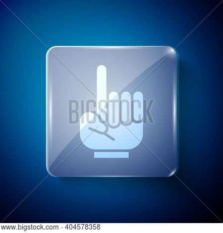 White Number 1 One Fan Hand Glove With Finger Raised Icon Isolated On Blue Background. Symbol Of Tea