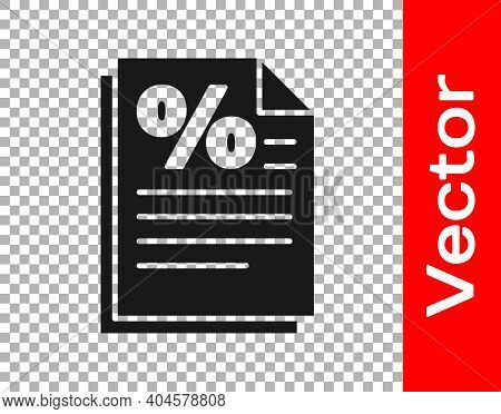 Black Finance Document Icon Isolated On Transparent Background. Paper Bank Document For Invoice Or B