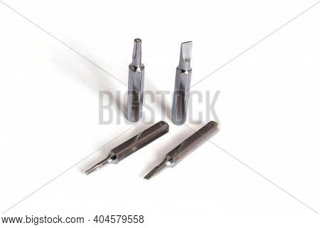 Set Of Heads For Screwdriver (bits). Screwdriver Bits Isolated. Tools.