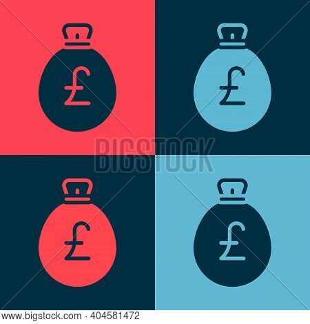 Pop Art Money Bag With Pound Icon Isolated On Color Background. Pound Gbp Currency Symbol. Vector