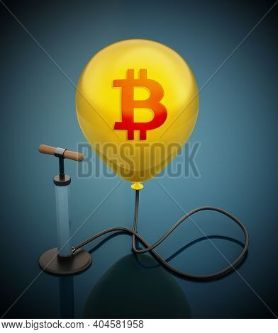 Manual Hand Pump Connected To The Inflated Red Balloon With Bitcoin Icon. 3d Illustration.