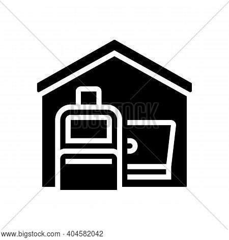 Baggage And Laptop In House Glyph Icon Vector. Baggage And Laptop In House Sign. Isolated Contour Sy