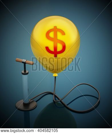 Manual Hand Pump Connected To The Inflated Red Balloon With Dollar Icon. 3d Illustration.