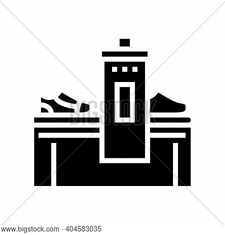 Shoes Making Machine Glyph Icon Vector. Shoes Making Machine Sign. Isolated Contour Symbol Black Ill