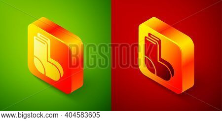 Isometric Valenki Icon Isolated On Green And Red Background. National Russian Winter Footwear. Tradi