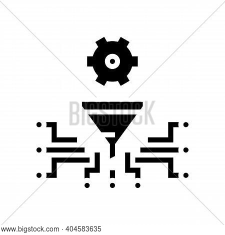 Work Process Filtration Glyph Icon Vector. Work Process Filtration Sign. Isolated Contour Symbol Bla