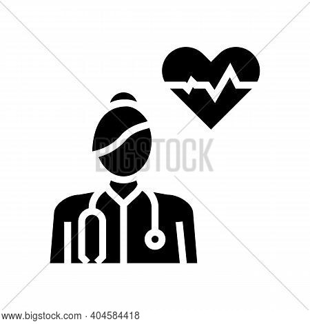 Cardiology Medical Specialist Glyph Icon Vector. Cardiology Medical Specialist Sign. Isolated Contou