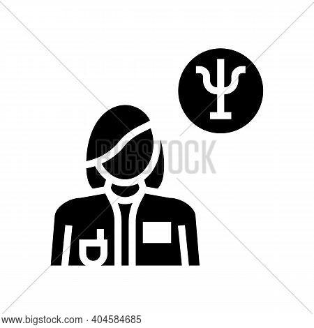 Psychiatry Medical Specialist Glyph Icon Vector. Psychiatry Medical Specialist Sign. Isolated Contou