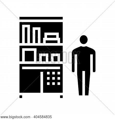 Drugstore Worker Showcase With Pills Glyph Icon Vector. Drugstore Worker Showcase With Pills Sign. I