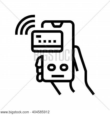 Pay Pass Card Phone Line Icon Vector. Pay Pass Card Phone Sign. Isolated Contour Symbol Black Illust