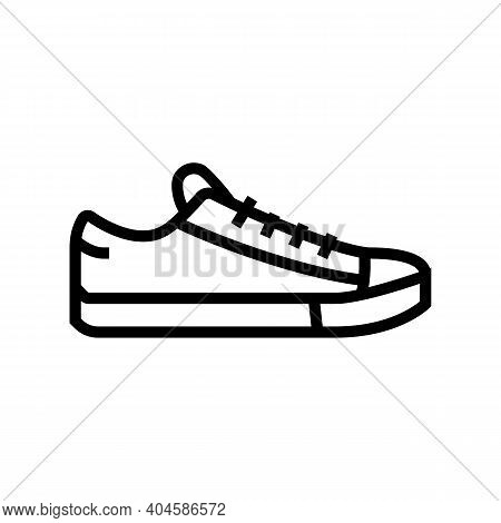 Sneakers Shoe Line Icon Vector. Sneakers Shoe Sign. Isolated Contour Symbol Black Illustration