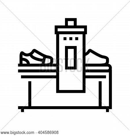 Shoes Making Machine Line Icon Vector. Shoes Making Machine Sign. Isolated Contour Symbol Black Illu