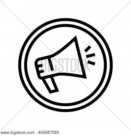 Advertising Loudspeaker Sign Line Icon Vector. Advertising Loudspeaker Sign Sign. Isolated Contour S